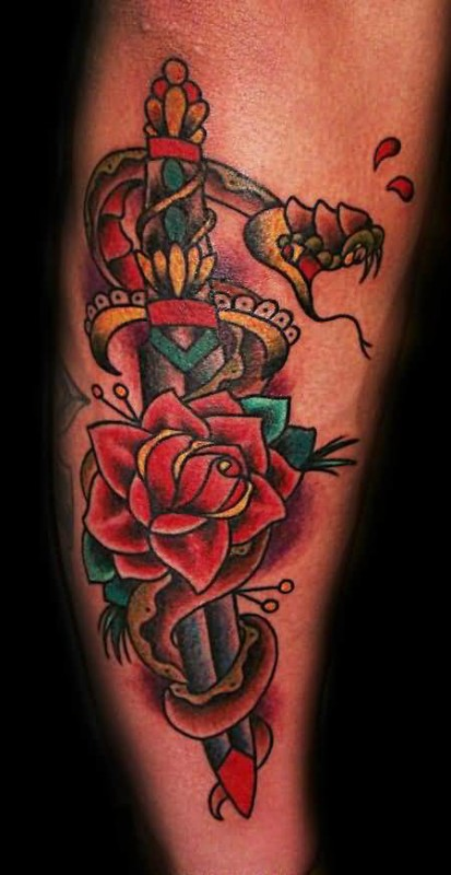 Lovely Red Rose And Open Mouth Snake Design With Mind Blowing Dagger Tattoo