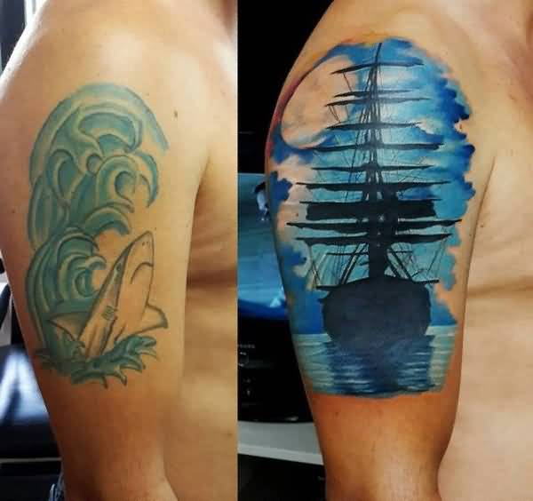 Lovely Shark In Water And Upper Sleeve Cover Up With Fantastic Ship In Water Tattoo For Men