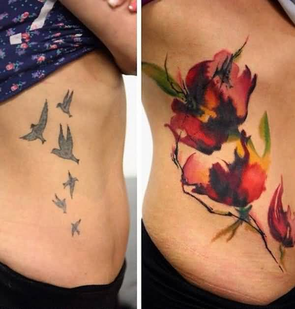 Lovely Watercolor Flowers Cover Up With Lovely Outline Flying Birds Tattoo On Rib Side For Women