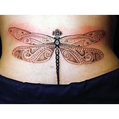 Lower Back Cover Up With Unique Dragonfly Tattoo