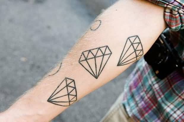 Lower Sleeve Cover Up With Amazing 3 Diamonds Tattoo For