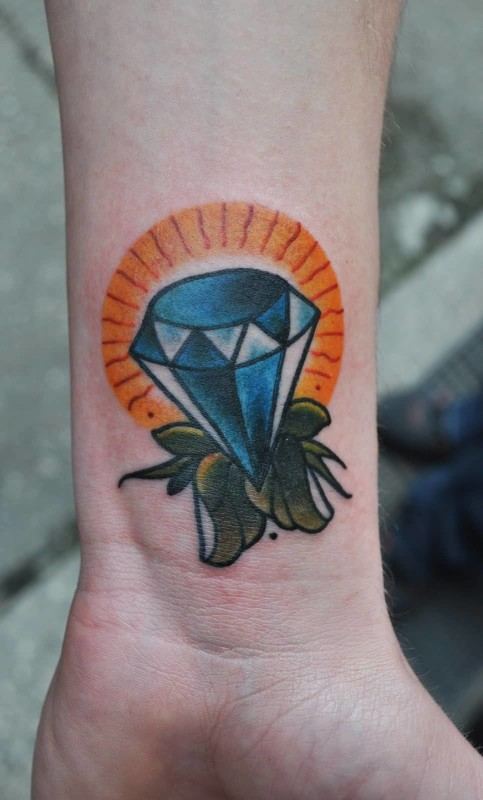 Lower Sleeve Cover Up With Outstanding Glowing Diamond Tattoo