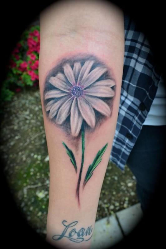 Lower Sleeve Decorated With Marvelous White Daisy Flower Tattoo Design Made By Artost