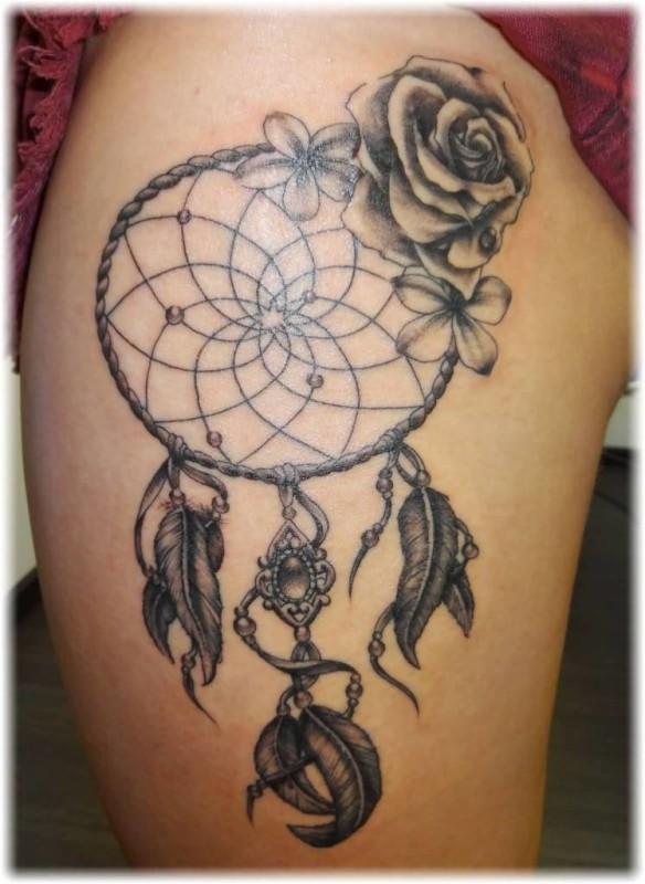 Marvelous Rose Flower Dram Catcher Feather Tattoo