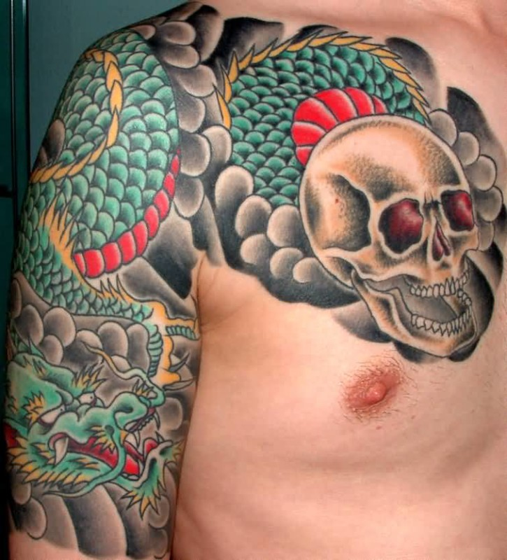Men Chest And Sleeve Cover Up With Classy Green Dragon And White Skull Tattoo Design