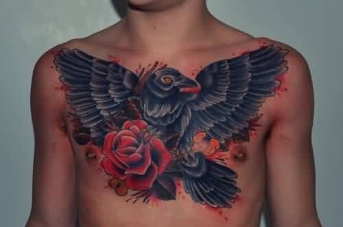 Men chest cover up with traditional old angry flying eagle for Cover up chest tattoos