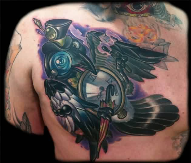 Men Chest Cover Up With Outstanding Crow And Brilliant Clock Tattoo