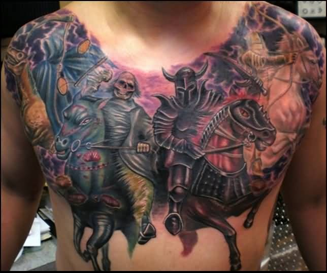Men Chest Cover Up With Outstanding Dangerous Death Skull And Warrior Tattoo