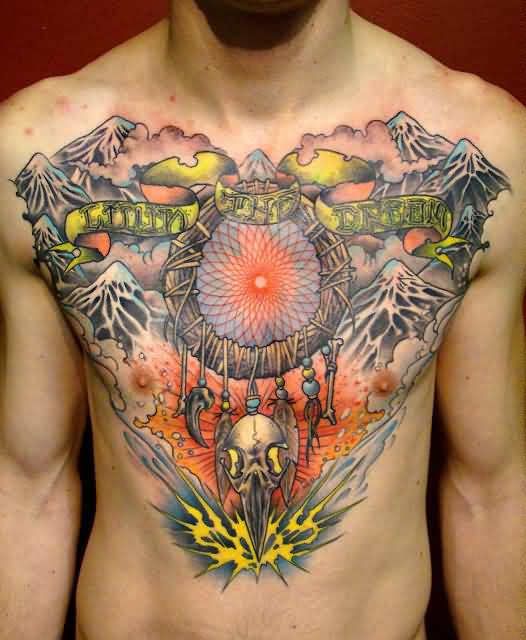Men Chest Cover up With Outstanding Dream Catcher Tattoo Design With Simple Glowing Banner