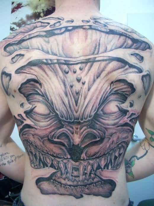 Men Full Back Decorated With Ultimate Demon Face Tattoo Design Image