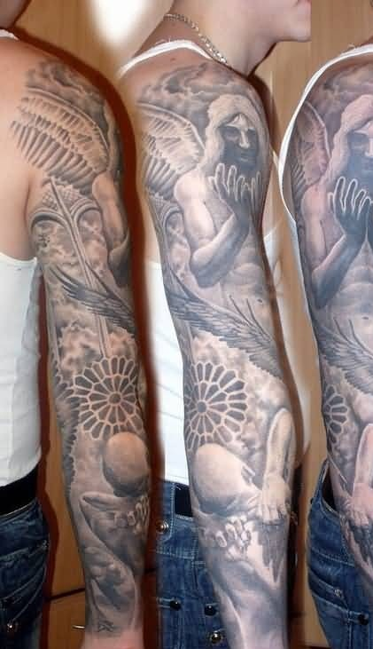 016119b959fc6 Men Full Sleeve Deocorated With Mind Blowing Demon Praying Angel Tattoo