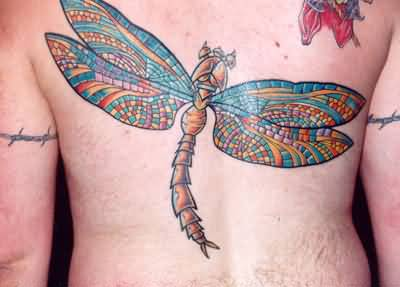 Men Lower Back Tattoo Of Simple Big Dragonfly