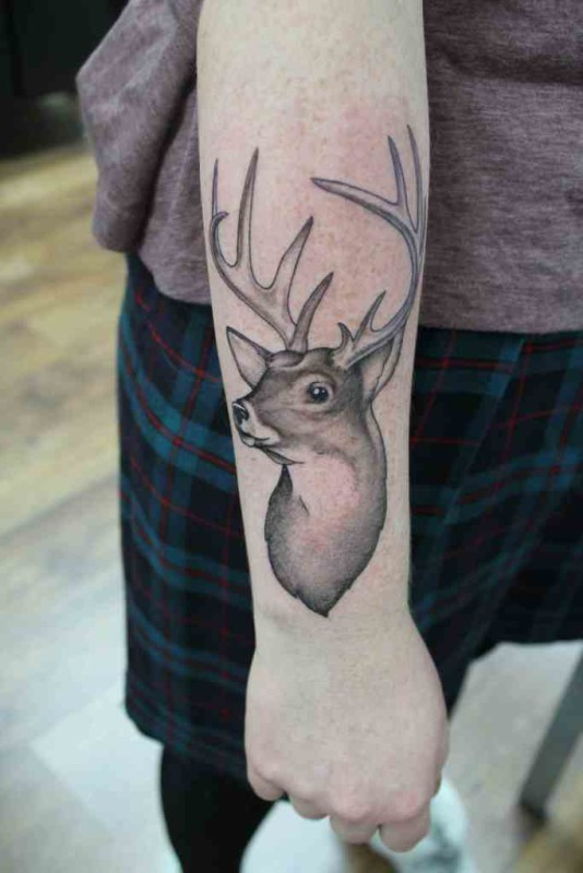 Men Lower Sleeve Cover Up With Outstanding Big Horns Deer Tattoo