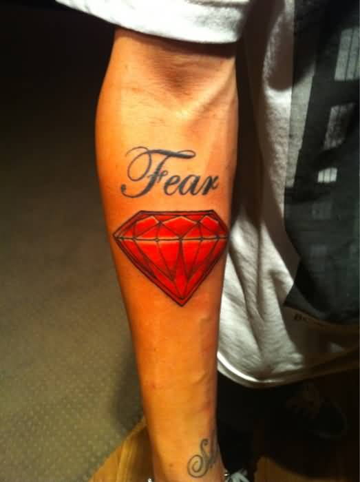 Men Lower Sleeve  Cover Up With Outstanding Red Ink Amazing Animated With Fear Text Tattoo