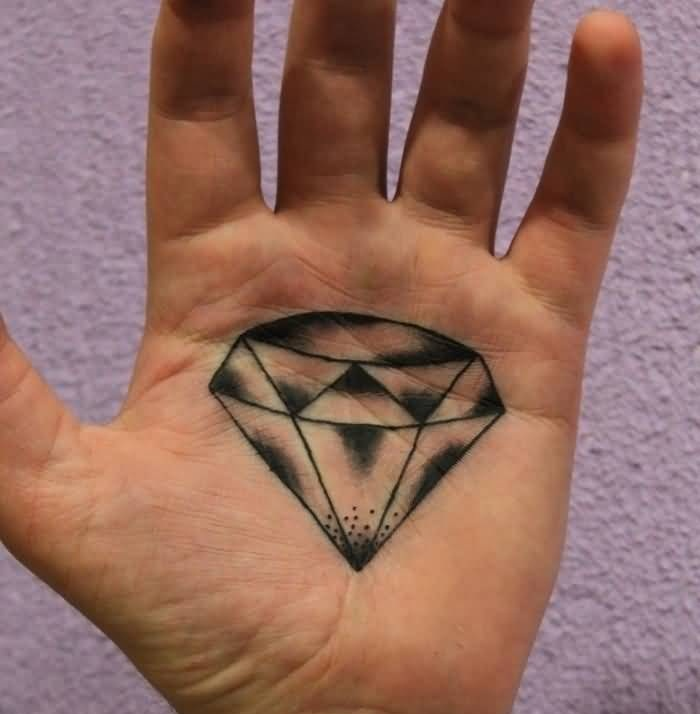 Men Palm Decorated With Nice Looking Diamond Tattoo