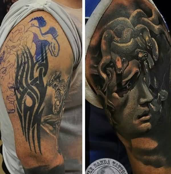 men upper sleeve cover up with outstanding sad men face and black