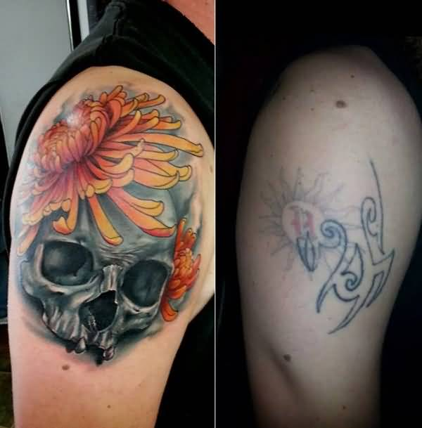 Men Upper Sleeve Decorated With Brilliant Skull And Cover Up With Simple Tribal Tattoo