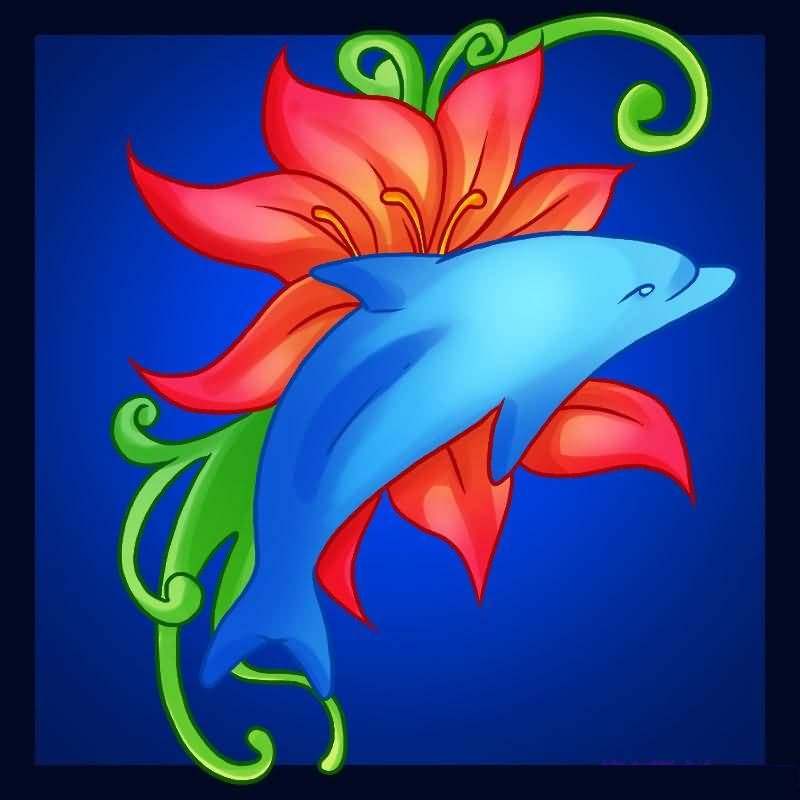 Mind Blowing Crawling Dolphin And Lovely Red Flower Tattoo Design
