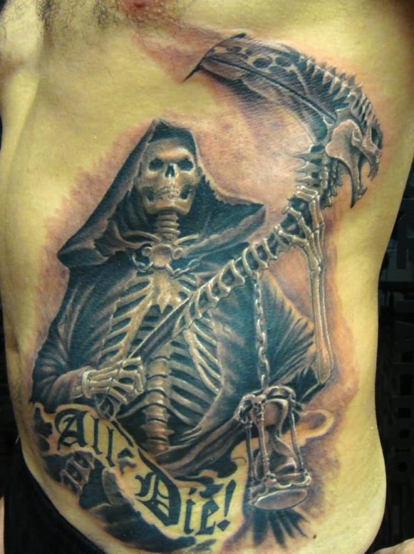 Mind Blowing Death Grim With All Die Text Tattoo  Design Make On Rib Side For Handsome Men