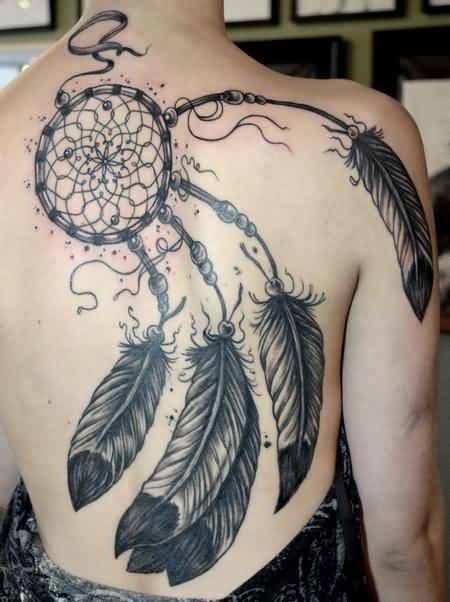 Mind Blowing Dream Catcher And  Big Feather Tattoo Design Make On Full Back
