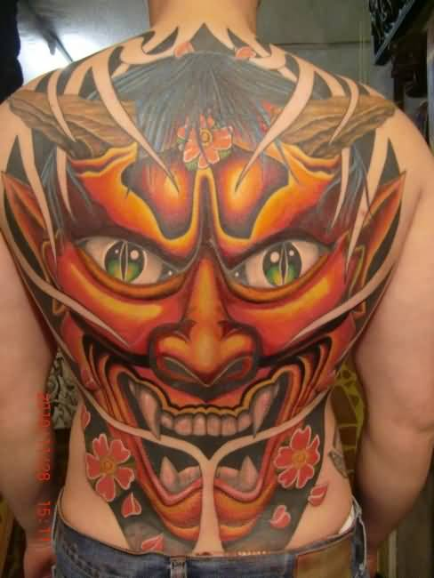 Mind Blowing Full Back Cover Up With Marvelous Devil Big Face Tattoo For Men