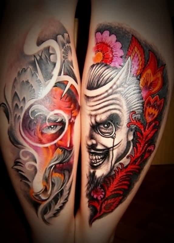 Mind Blowing Old  Devil Face Tattoo On Both Back Leg Made By Colorful Ink
