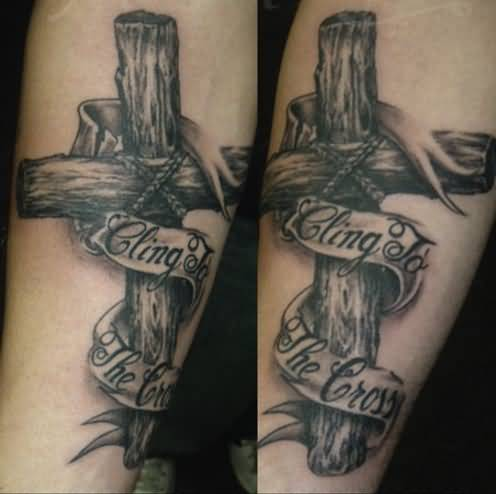 Pics for old wood cross tattoo for Old rugged cross tattoo designs