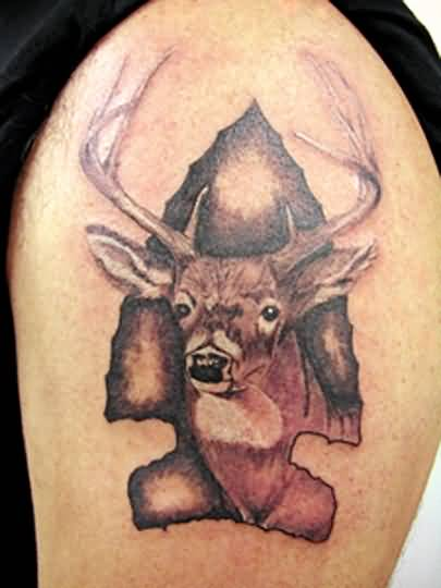 Mind Blowing Ripped Skin Deer Face Tattoo On Men's Upper Sleeve