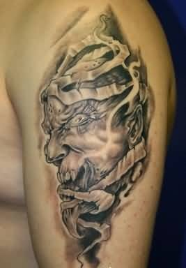 01733fc920c7d ... Cross And Sad Angel Demon Warrior Tattoo On Upper Sleeve · Mind Blowing  Ripped Skin Demon Face Tattoo Design Make On Upper Sleeve For Handsome Men