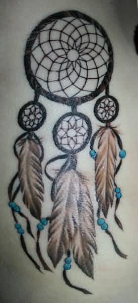 Mind Blowing Simple Dream Catcher Tattoo Made By Black Ink
