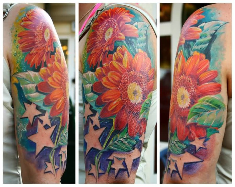Mind Blowing Upper Sleeve Cover Up With Ultimate Colorful Daisy Flower And Brilliant Glowing Stars Tattoo