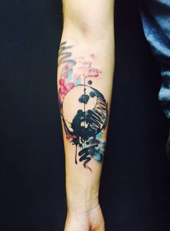 Mind Blowing Watercolor Yin Yang Tattoo On Lower Sleeve