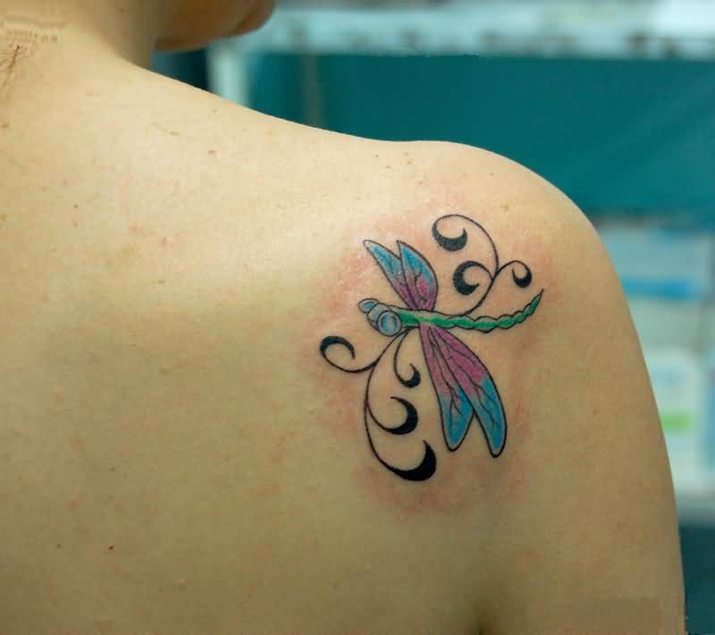 Nice Looking Dragonfly Tattoo Design Make On Upper Back