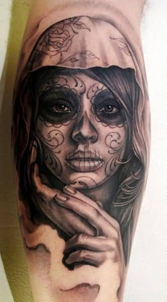 Nice Looking Glowing Dia De Los Muertos Face Tattoo Design