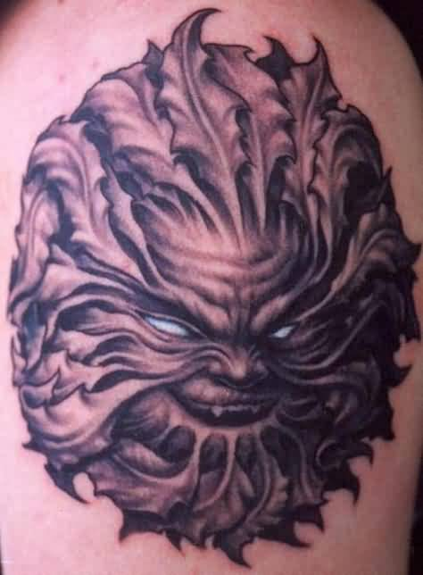 Nice Looking Scary Devil Face Tattoo Design