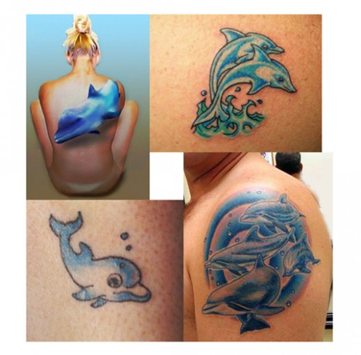 Outstanding Collaboration Tattoo Of Sweet Jumping Dolphin