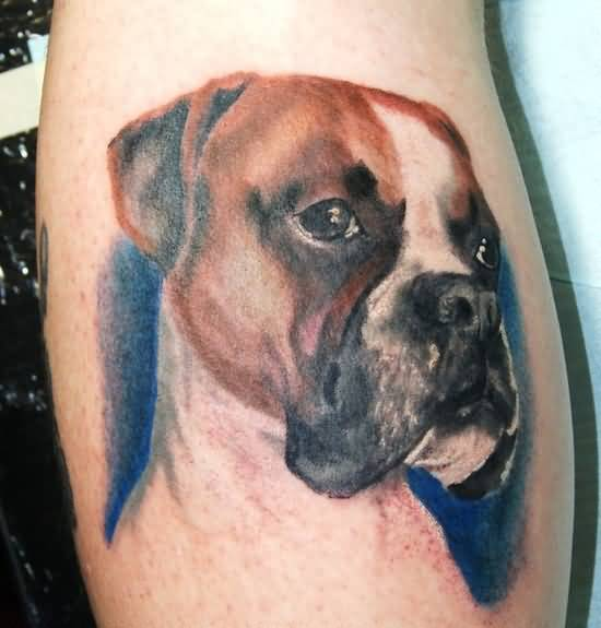 Outstanding Colorful Sweet Dog Face Tattoo Design