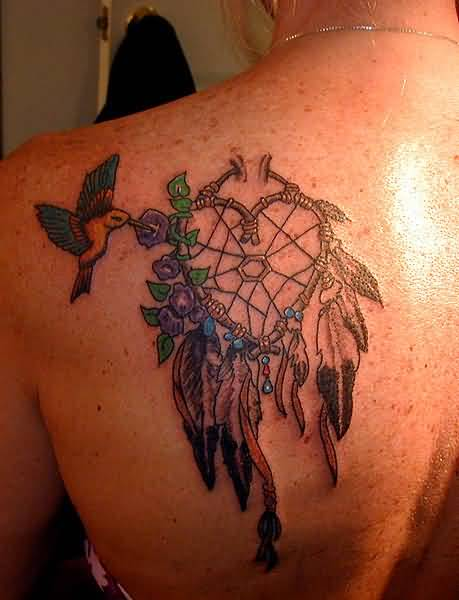 Outstanding  Flying Bird And Lovely Heart Shaped Dream Catcher Tattoo On Upper SIde Back