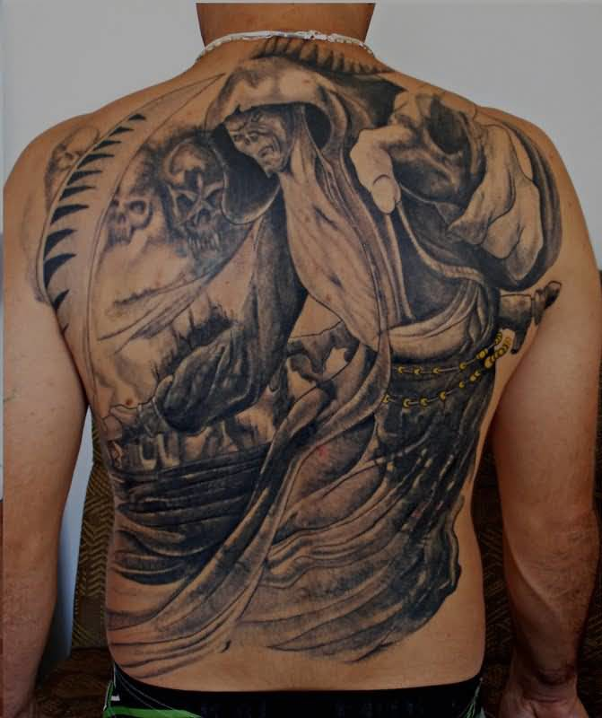 Outstanding Full Back Decorated With Outstanding Death Grim Tattoo Design