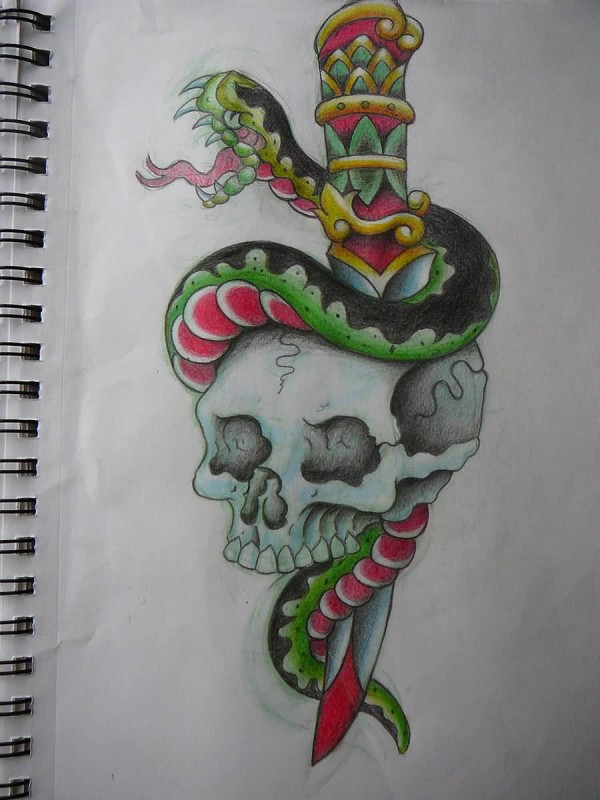 Outstanding White Skull And Open Mouth Snake With Dagger Tattoo Design Make On Paper