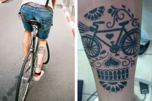 fantastic leg cover up with outstanding cycle tattoo for men. Black Bedroom Furniture Sets. Home Design Ideas