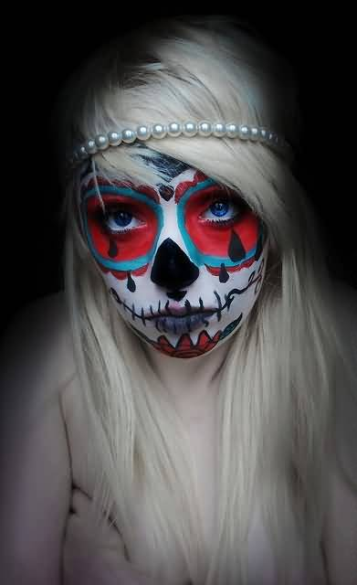 Pretty Hot Crazy Young Girl Show Fabulous Dia De Los Muertos Tattoo On Face