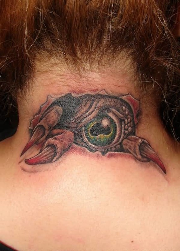 Pretty Hot Women Show Ultimate Ripped Skin Demon Eye Tattoo On Back Neck