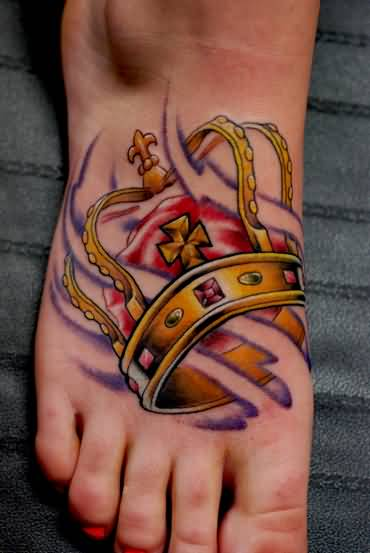 Realsitic New Crown Tattoo Design Make On Women's Foot
