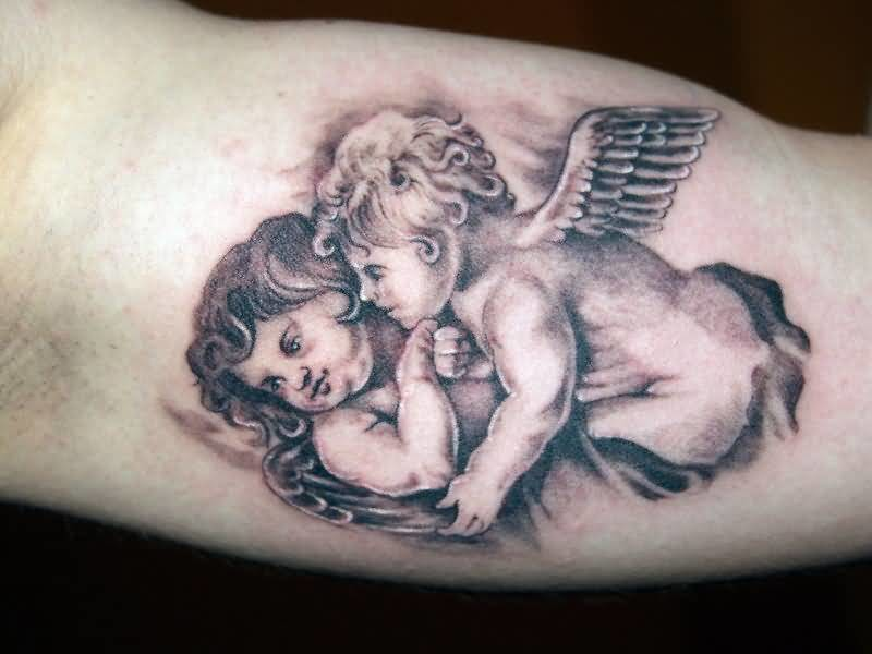Romantic Angel Cupid Cherub Tattoo Design Make On Men's Upper Sleeve