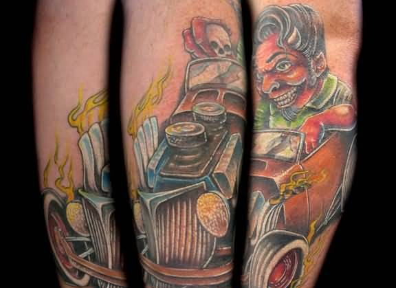 Scary Devil Sitting On Flaming Old Car Tattoo Design