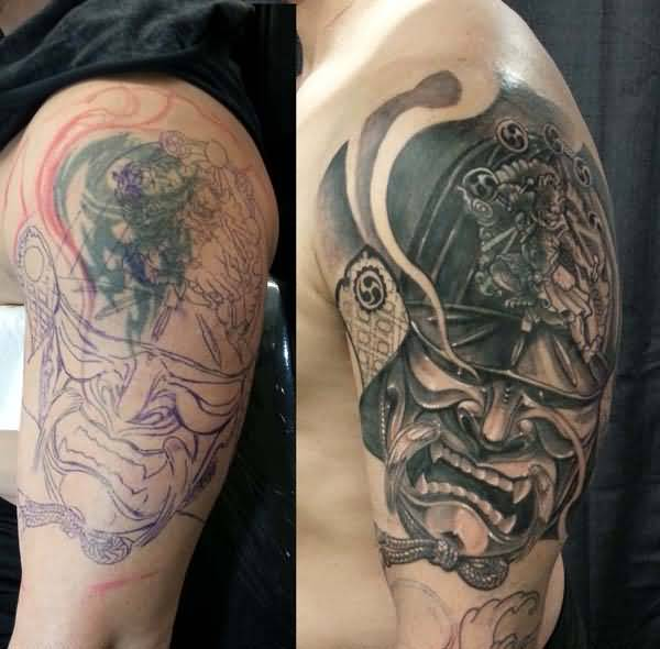 Simple And Angry Monster Face Cover Up With Sleeve Tattoo Design For Men
