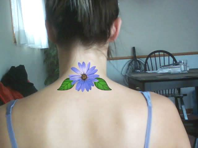 Simple Artifical Blue Color Daisy Flower Design With Green Leaf Tattoo On Upper Back