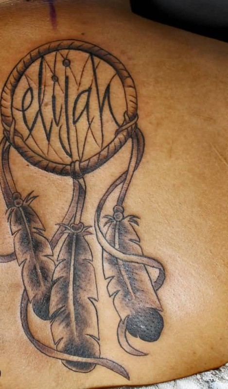 Simple Dream Catcher Symbol Tattoo Design With Lovely Feather
