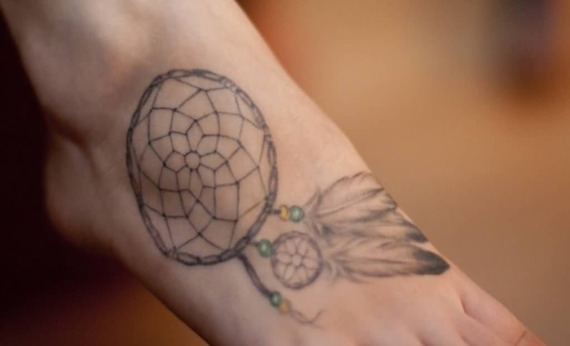 Simple  Dream Catcher Tattoo Make On Foot